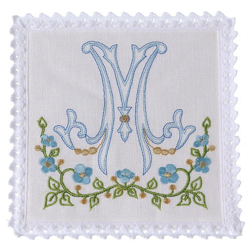 Altar linen blue embroidery Marian symbol, cotton 1