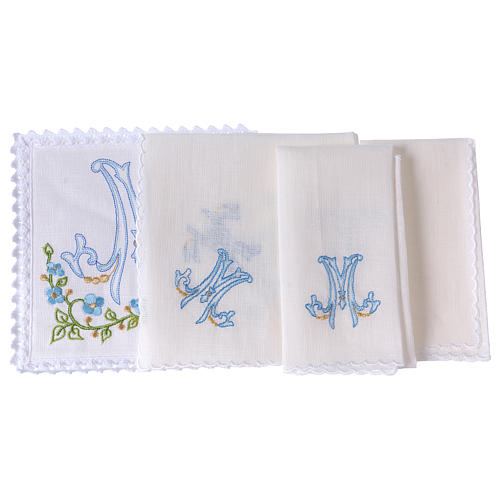 Altar linen blue embroidery Marian symbol, cotton 2