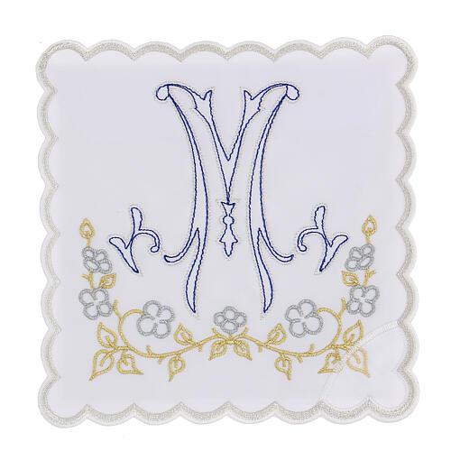 Altar linen blue embroidery Marian symbol, cotton 1