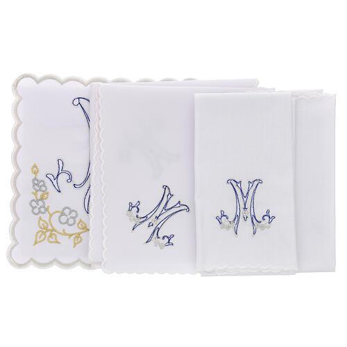 Altar linen blue embroidery Marian symbol, cotton 3
