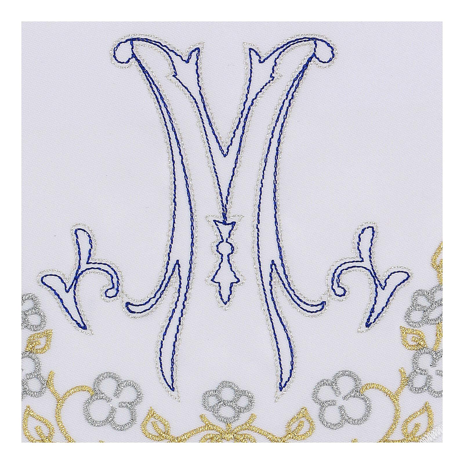 Set linge autel coton broderie bleue M mariale 4