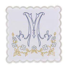 Servizio da altare cotone ricamo blu M Mariana s1