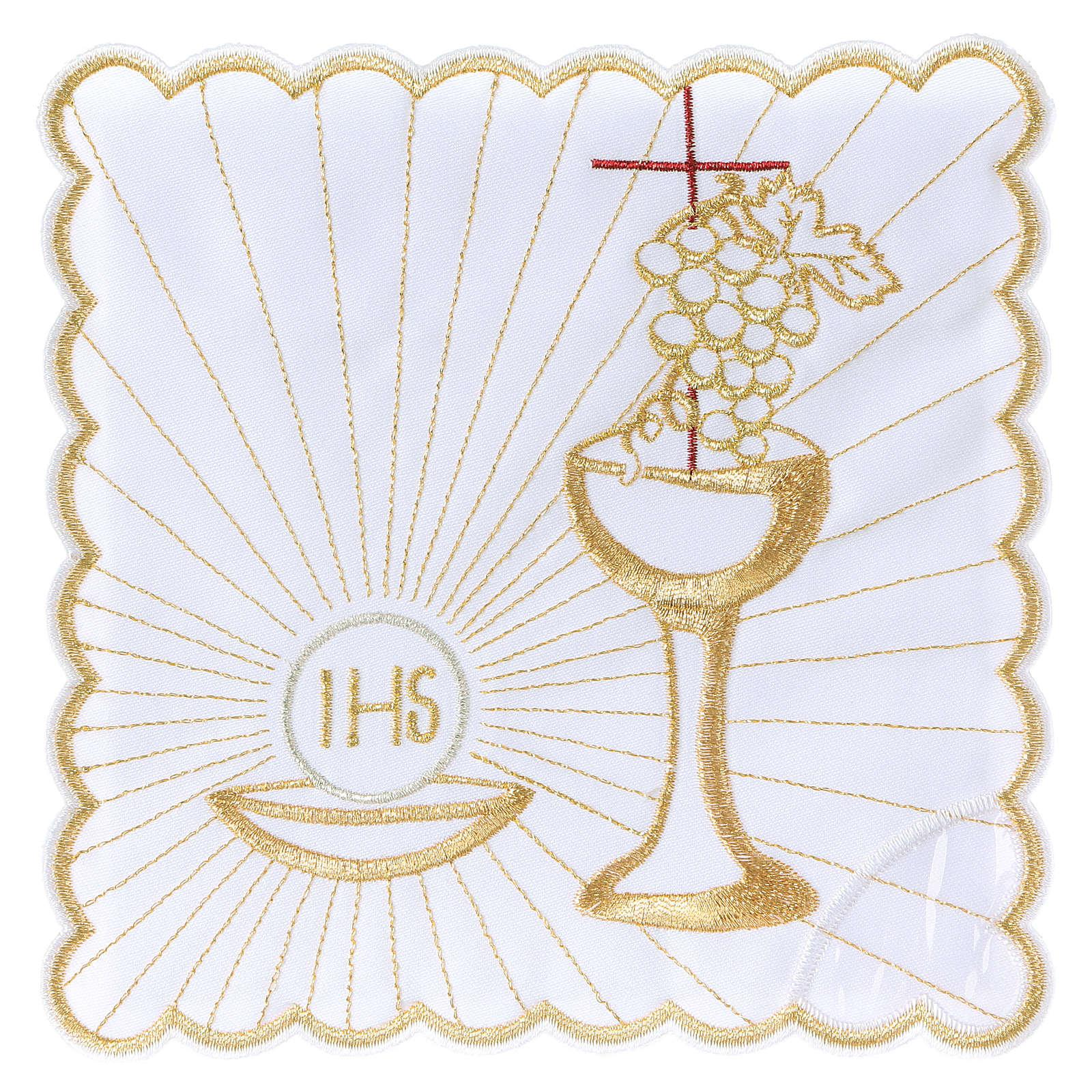 Set linge autel coton hostie calice raisin croix marron 4