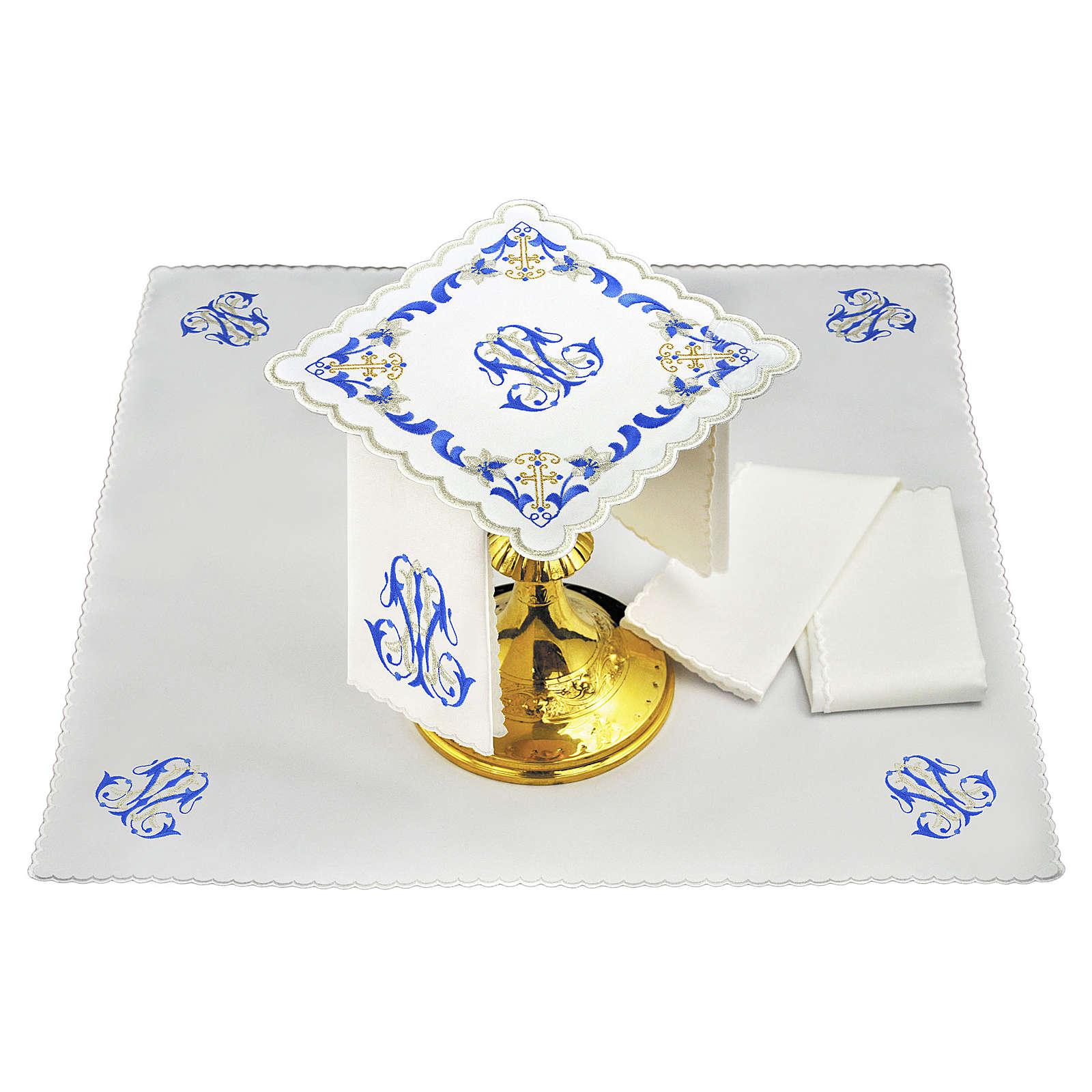 Set linge autel coton broderie gris bleu initiales Vierge Marie 4