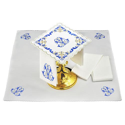 Set linge autel coton broderie gris bleu initiales Vierge Marie 1