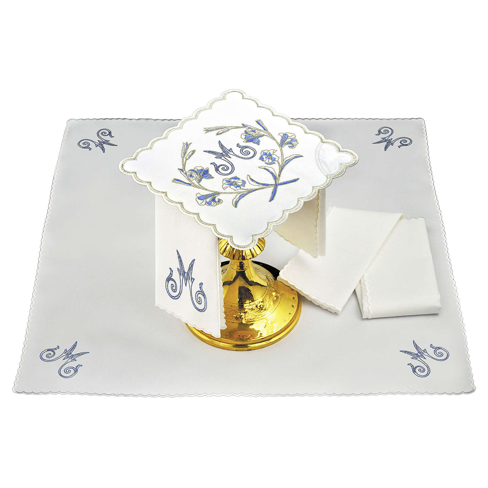 Set linge autel coton M mariale gris bleu clair avec fleurs 4