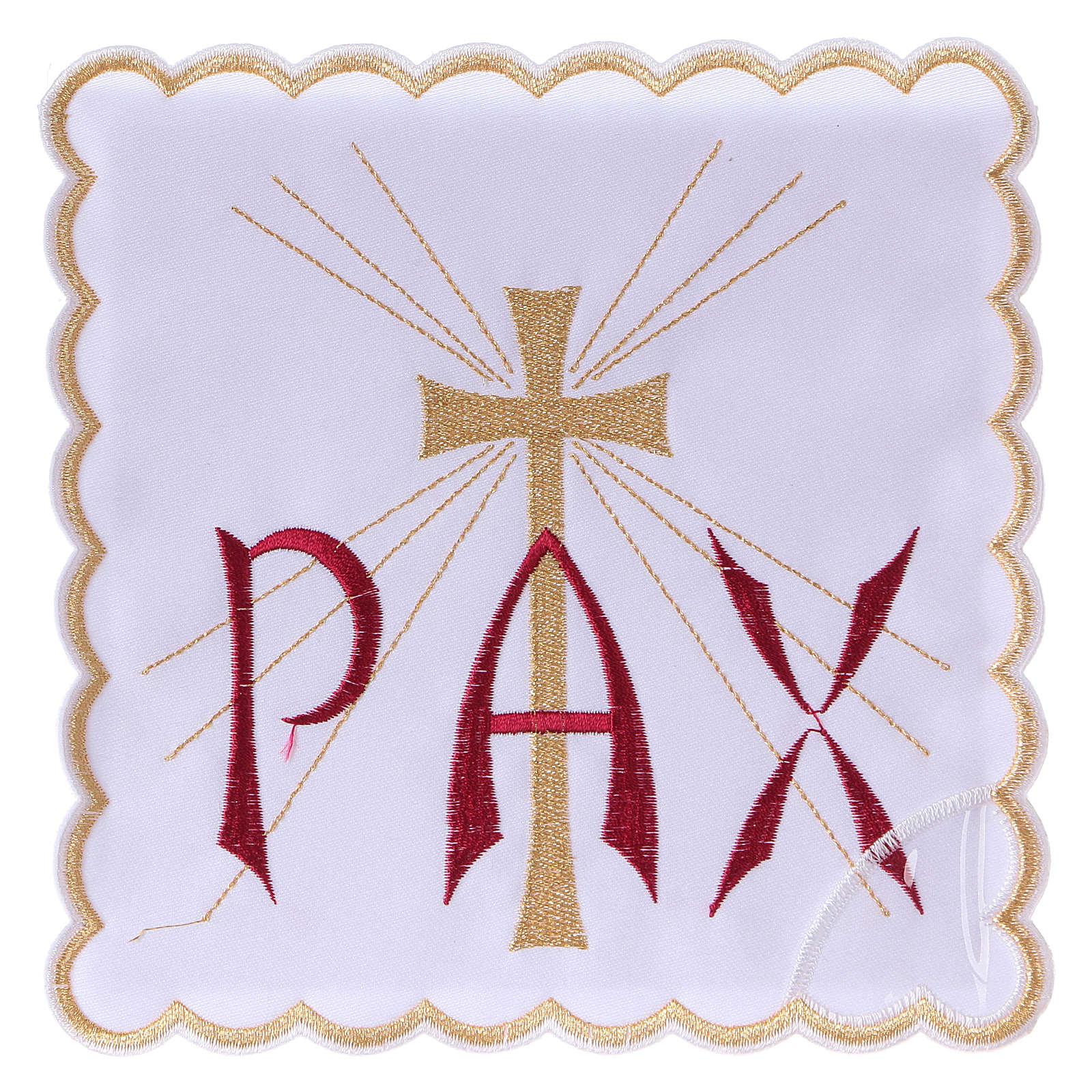 Servizio da altare cotone scritta PAX rossa e croce dorata con raggi 4