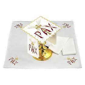 Servizio da altare cotone scritta PAX rossa e croce dorata con raggi s2