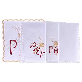 Servizio da altare cotone scritta PAX rossa e croce dorata con raggi s3