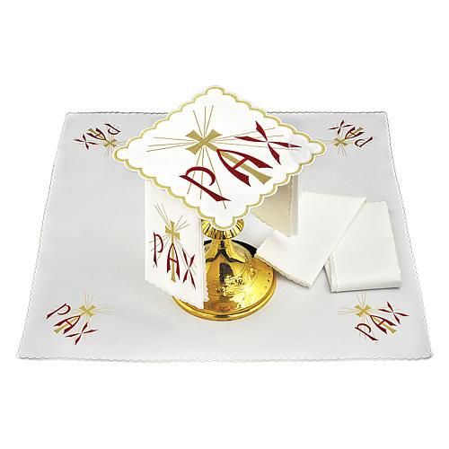 Servizio da altare cotone scritta PAX rossa e croce dorata con raggi 2