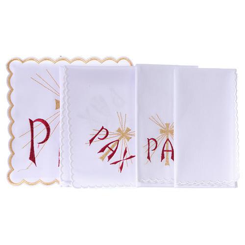 Servizio da altare cotone scritta PAX rossa e croce dorata con raggi 3