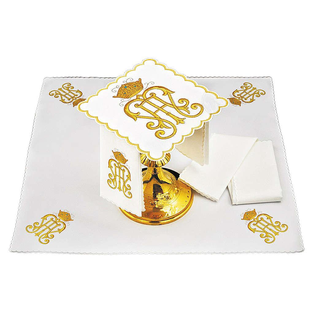 Set linge autel coton symbole IHS doré avec couronne 4