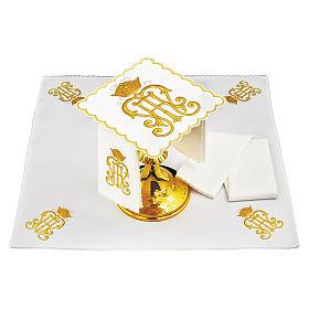 Set linge autel coton symbole IHS doré avec couronne s1