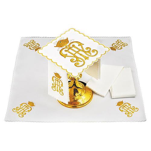 Set linge autel coton symbole IHS doré avec couronne 1