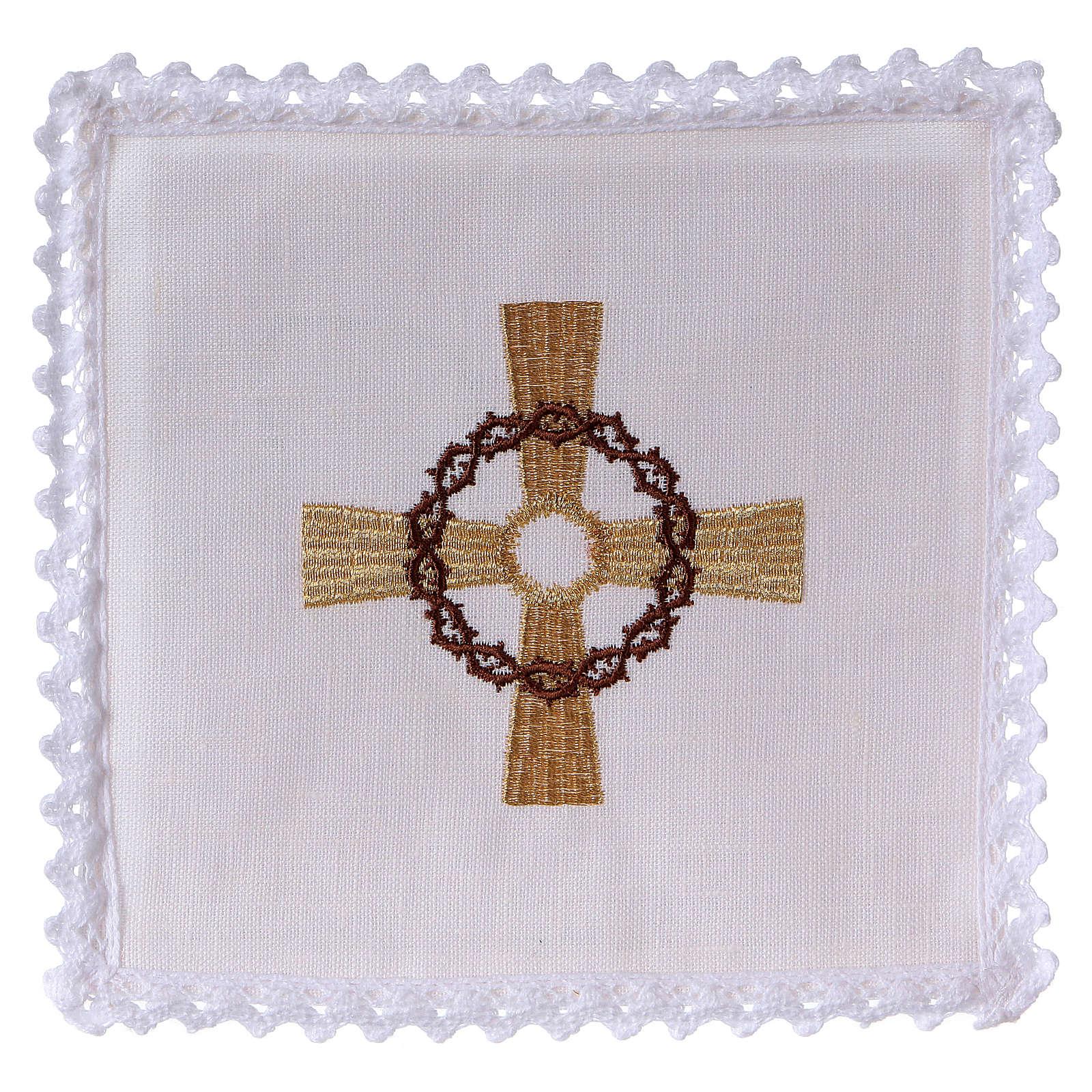 Linge d'autel lin croix dorée couronne d'épines 4
