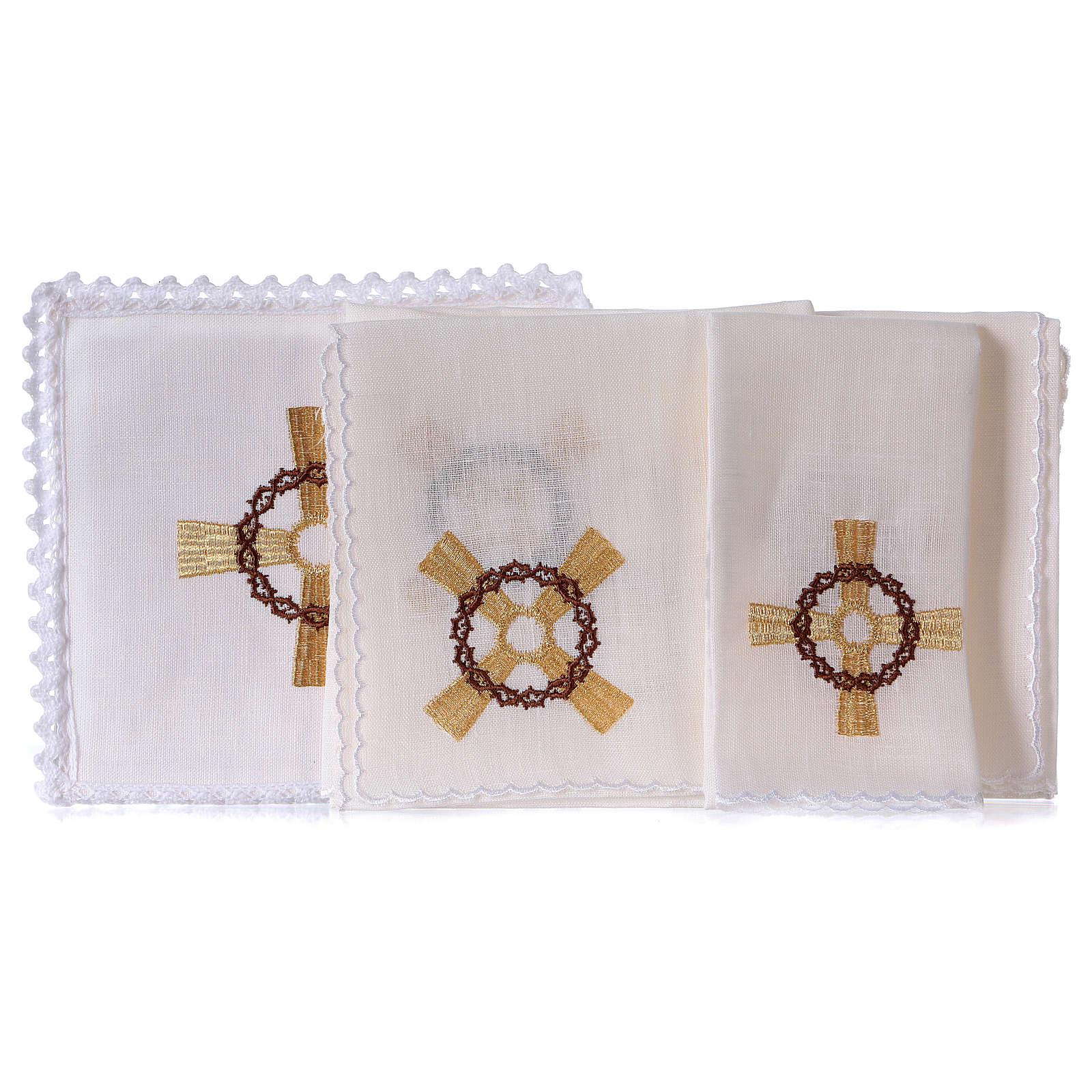 Conjunto para altar linho cruz dourada coroa de espinhas 4
