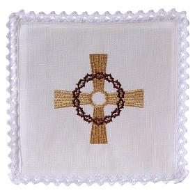Conjunto para altar linho cruz dourada coroa de espinhas s1