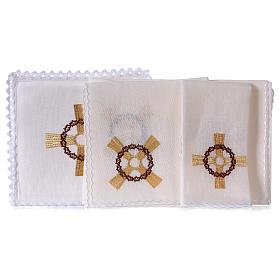 Conjunto para altar linho cruz dourada coroa de espinhas s2