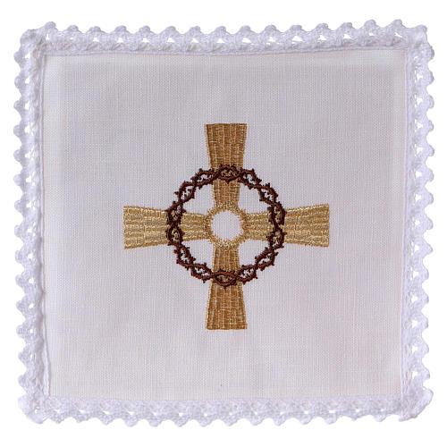 Conjunto para altar linho cruz dourada coroa de espinhas 1