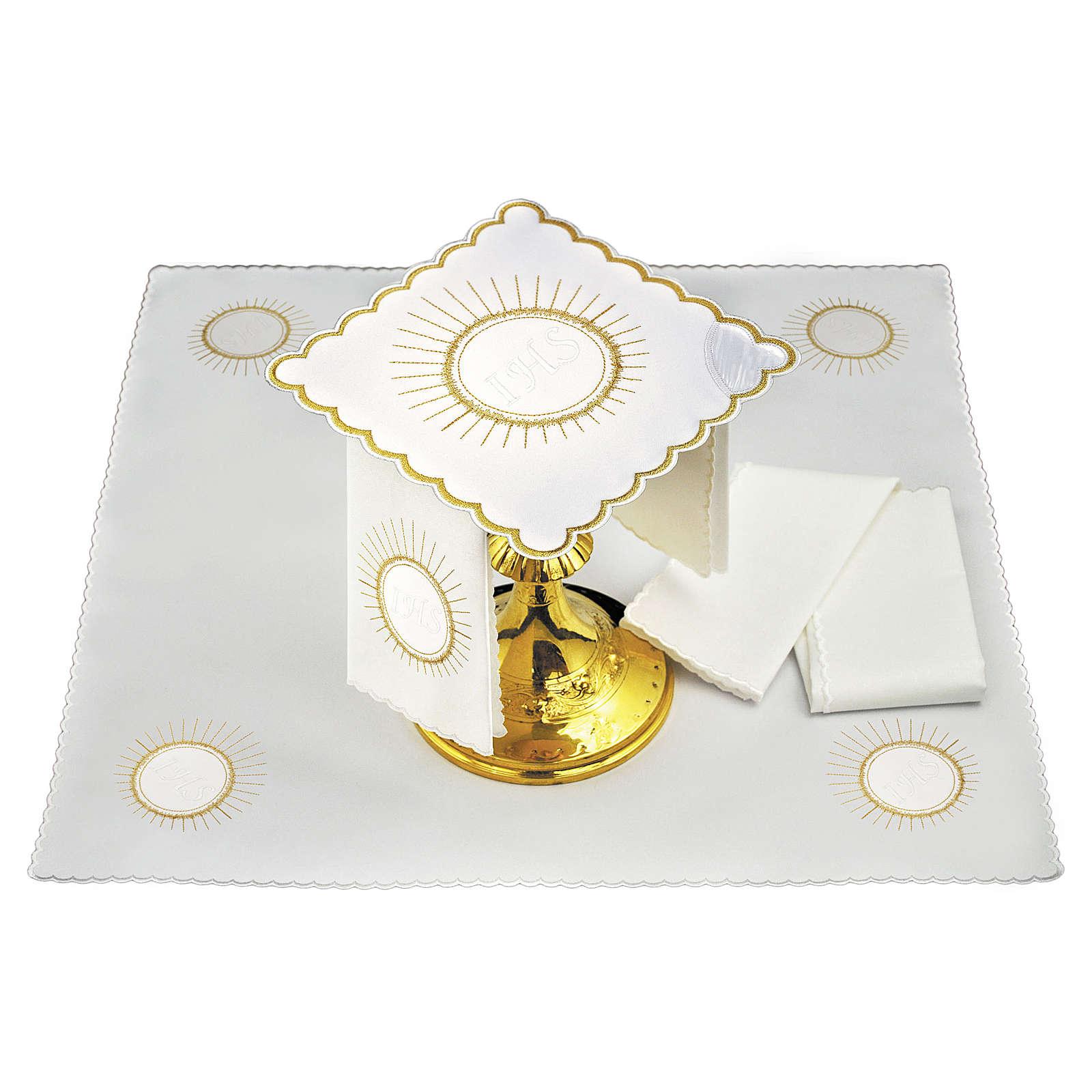 Servizio da altare lino ostia ricamo bianco JHS 4