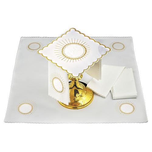 Servizio da altare lino ostia ricamo bianco JHS 1