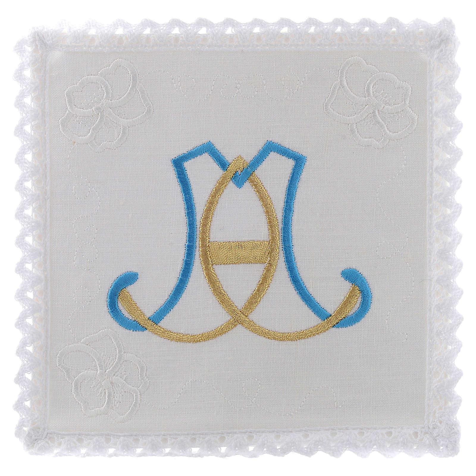 Linge d'autel lin broderie initiales bleu clair or Vierge Marie 4