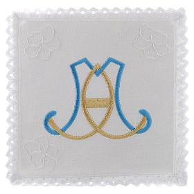 Linge d'autel lin broderie initiales bleu clair or Vierge Marie s1