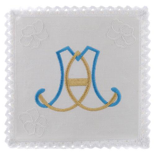 Linge d'autel lin broderie initiales bleu clair or Vierge Marie 1