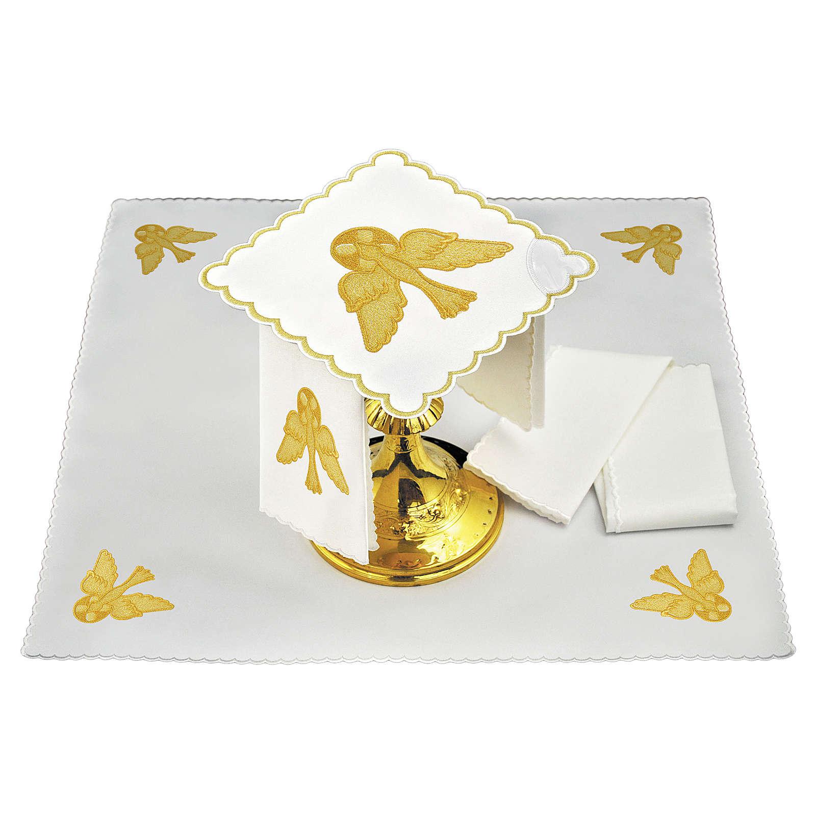 Servizio da altare lino colomba dorata 4