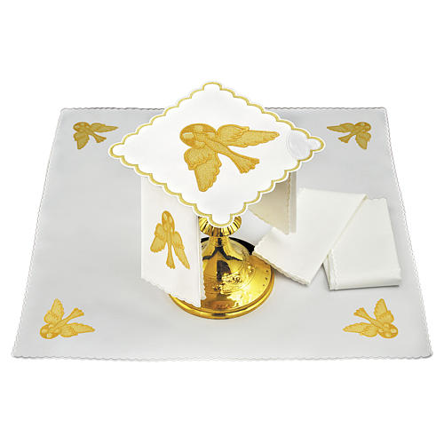 Servizio da altare lino colomba dorata 1