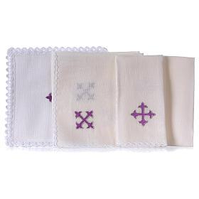 Altar linen baroque cross purple embroidery s2