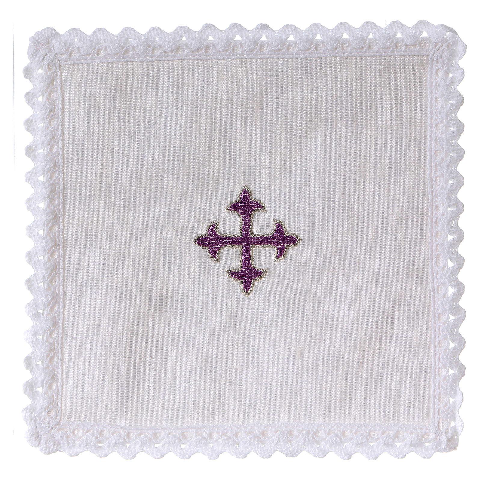 Servizio da altare lino croce barocca ricamo viola 4