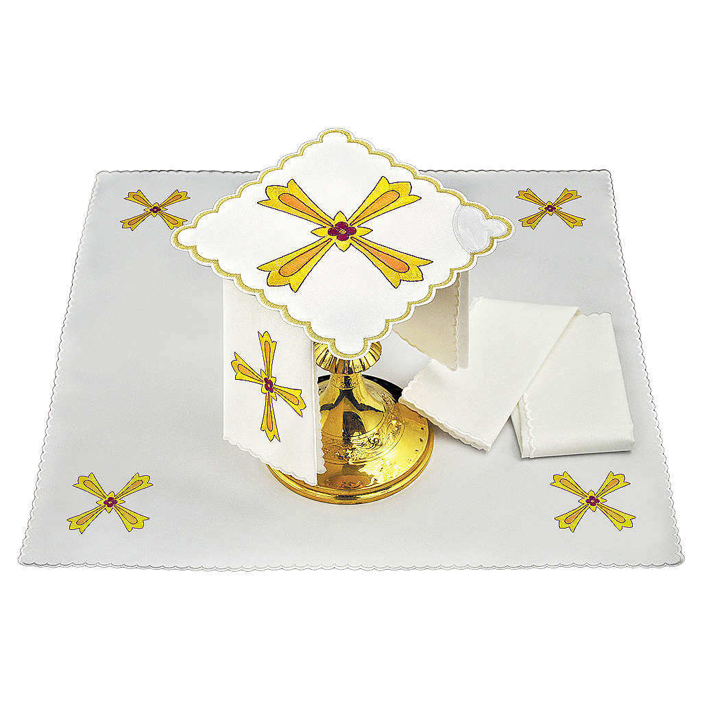 Altar linen yellow orange cross & red flower 4