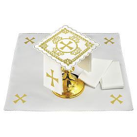 Linge d'autel lin croix décors brodés dorés s1