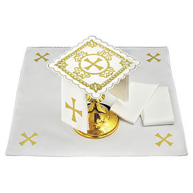 Servizio da altare lino croce decori ricamati dorati s1