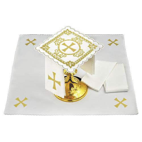Servizio da altare lino croce decori ricamati dorati 1