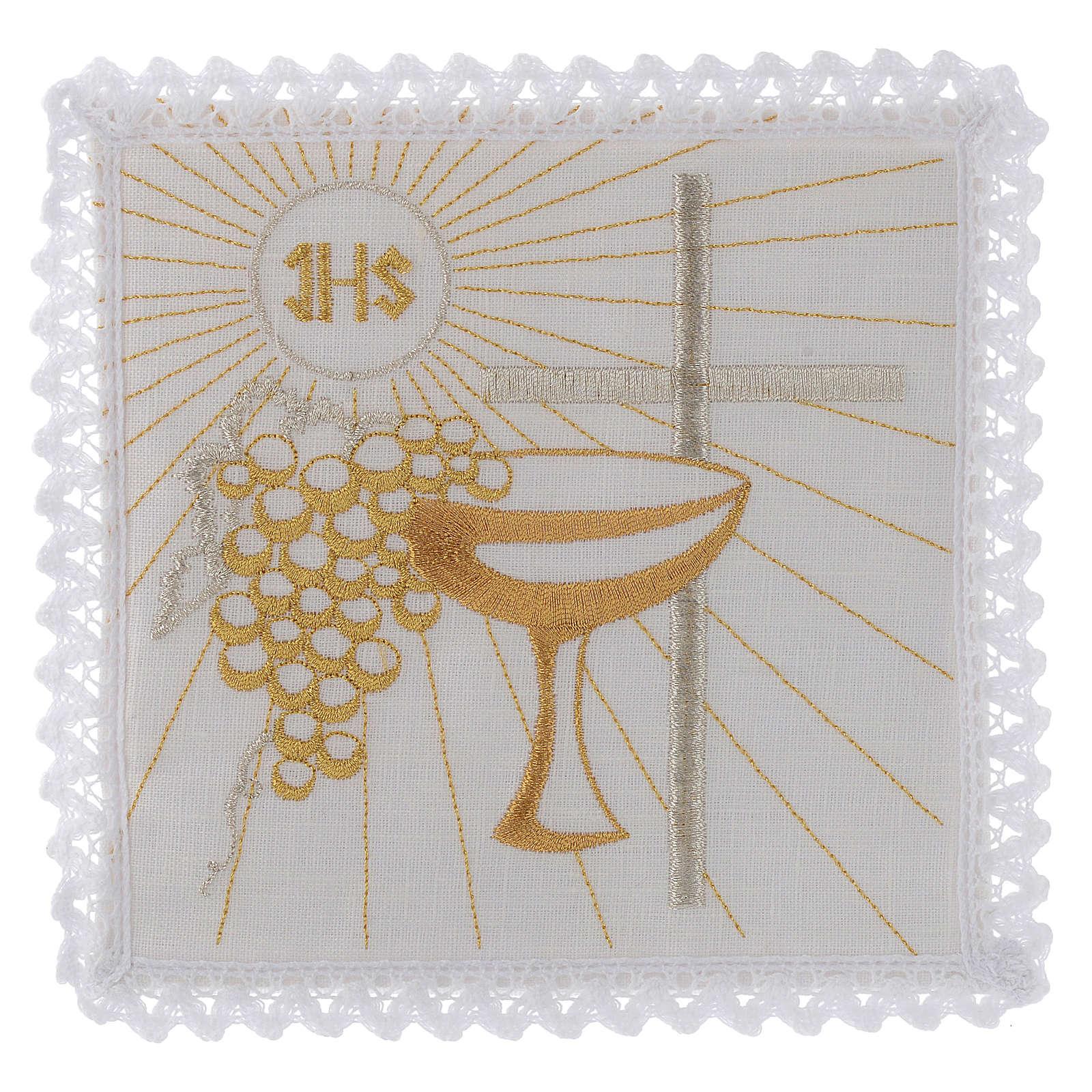 Servizio da altare lino calice uva dorati croce bianca 4