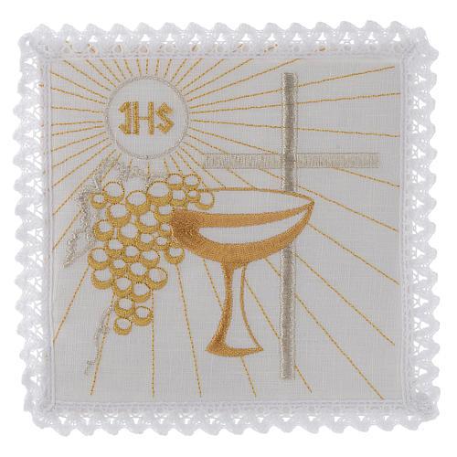 Servizio da altare lino calice uva dorati croce bianca 1