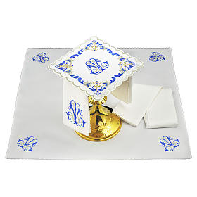 Altar linen Holy Mary name grey & blue embroidery s1