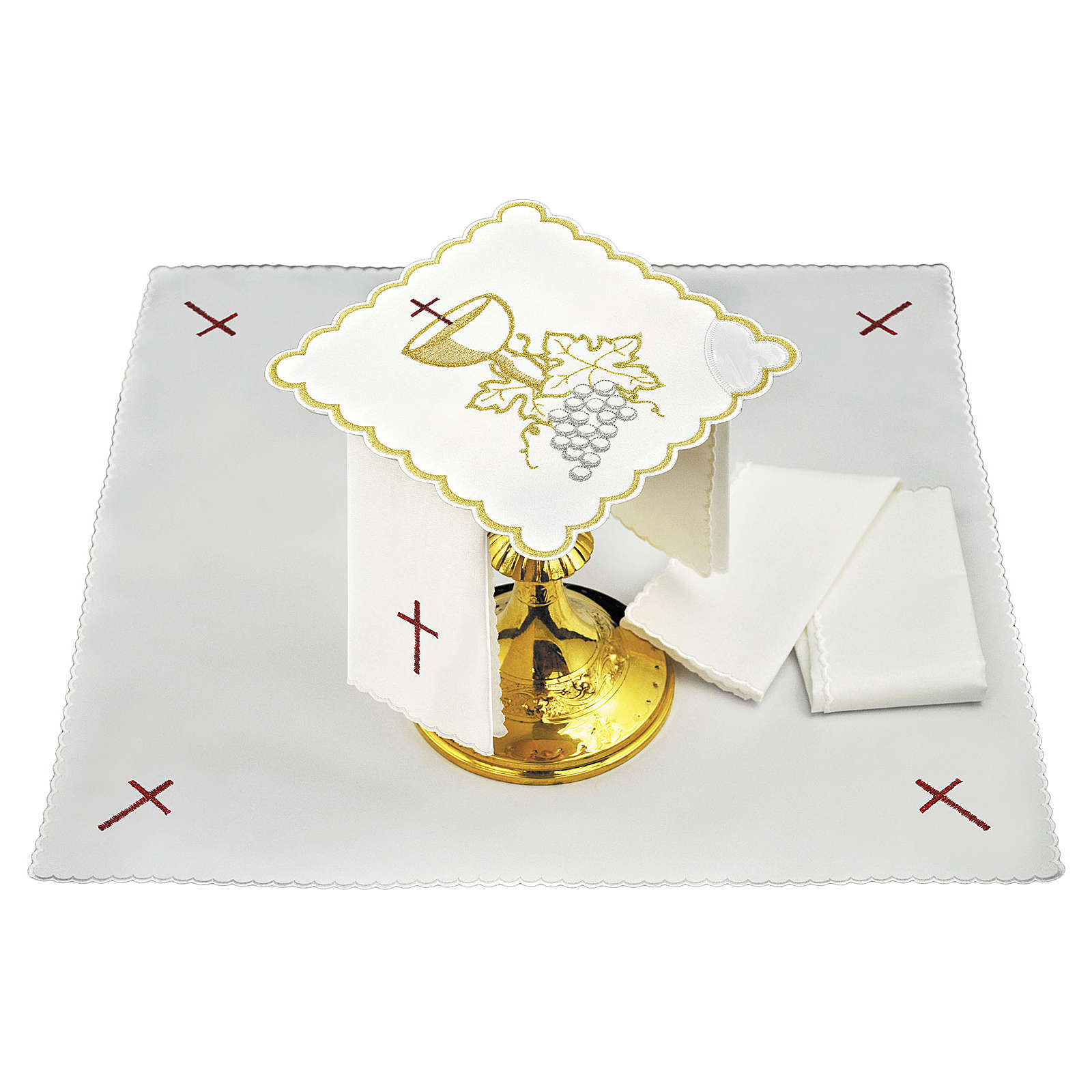 Altar linen white grapes leaves and golden chalices 4
