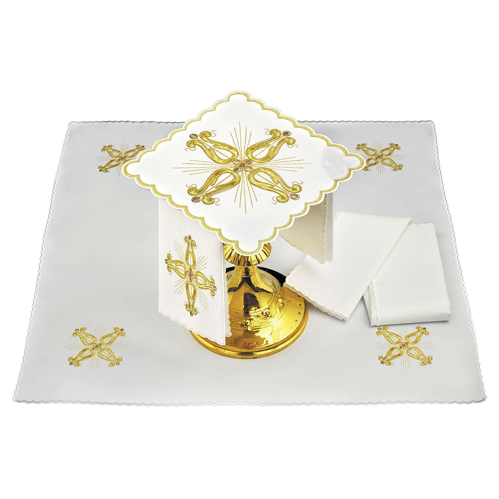Conjunto altar linho cruz dourada barroca com flor central 4