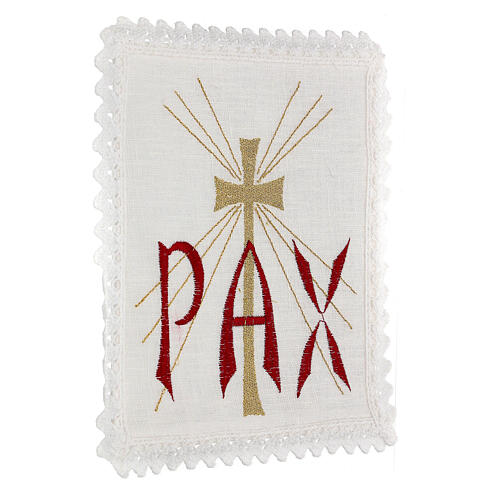 Altar linen red PAX and golden cross with rays 3