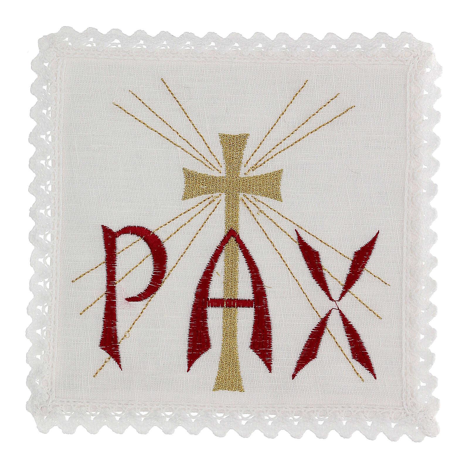 Servicio de altar hilo escrita PAX roja y cruz dorada con rayos 4