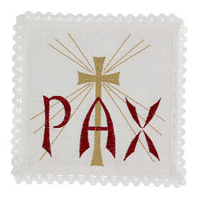 Linge pour autel lin Chi-Rho rouge et croix dorée avec rayons s1