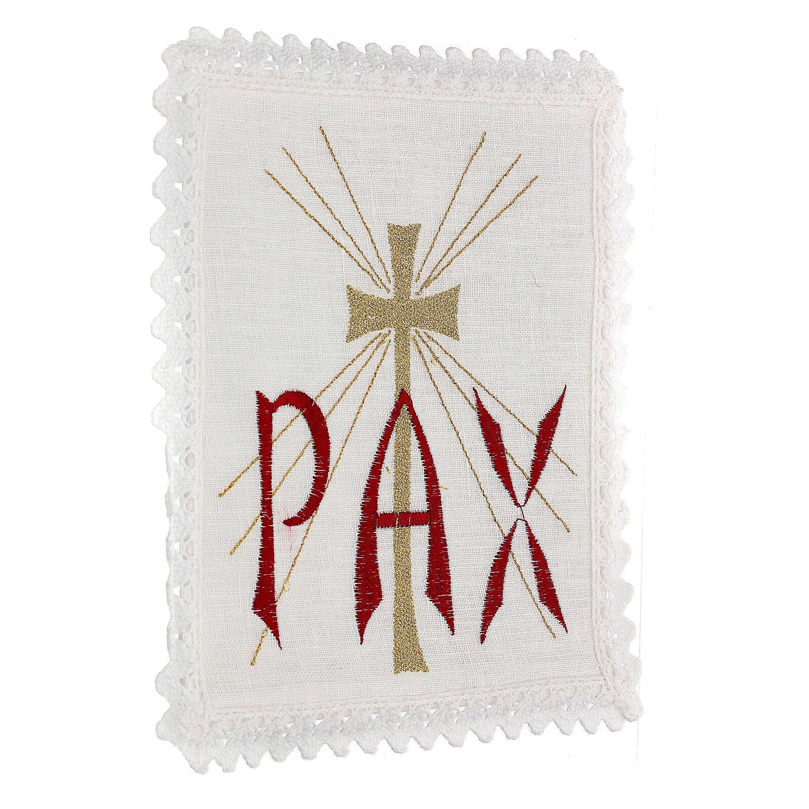 Servizio da altare lino scritta PAX rossa e croce dorata con raggi 4