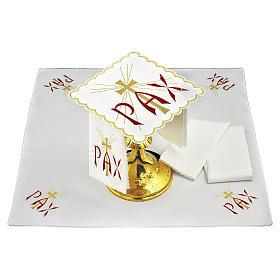 Servizio da altare lino scritta PAX rossa e croce dorata con raggi s1
