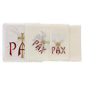 Servizio da altare lino scritta PAX rossa e croce dorata con raggi s2