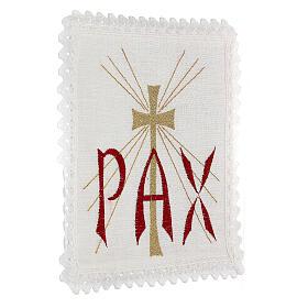 Servizio da altare lino scritta PAX rossa e croce dorata con raggi s3