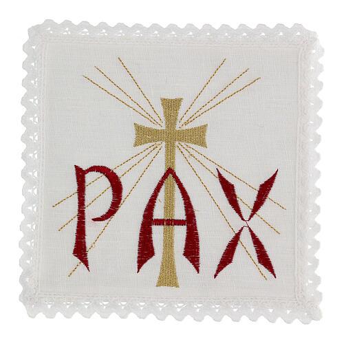 Servizio da altare lino scritta PAX rossa e croce dorata con raggi 1