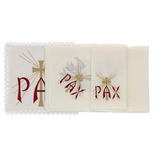Servizio da altare lino scritta PAX rossa e croce dorata con raggi 2